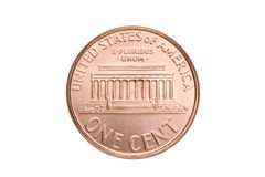 Macro del penny isolata Immagini Stock