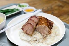 Macro del plato del arroz del pato de carne asada y del cerdo de la barbacoa Imagenes de archivo