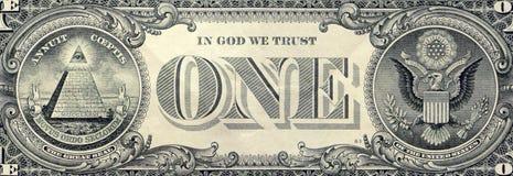 Macro del primer del billete de dólar de los E.E.U.U. uno, lado trasero Fotos de archivo libres de regalías