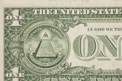 Macro del primer del billete de dólar de los E.E.U.U. uno Imágenes de archivo libres de regalías