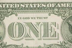 Macro del primer del billete de dólar de los E.E.U.U. uno, 1 usd de billete de banco Fotografía de archivo libre de regalías