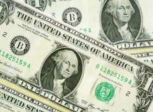 Macro del primo piano della banconota in dollari degli Stati Uniti uno Fotografie Stock