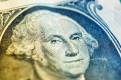 Macro del primo piano della banconota in dollari degli Stati Uniti uno, 1 usd di banconota Fotografie Stock Libere da Diritti