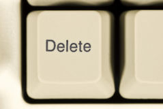 Macro of Delete Key on Computer Keyboard Royalty Free Stock Images