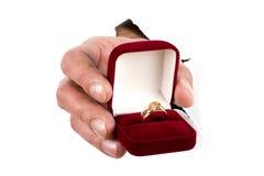 Macro dell'anello di oro a disposizione fotografie stock