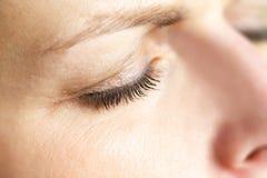 Macro dell'occhio della donna di medio evo Fotografia Stock Libera da Diritti