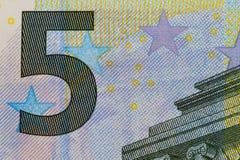Macro della banconota dell'euro 5 Fotografia Stock