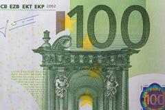 Macro della banconota dell'euro 100 Fotografia Stock