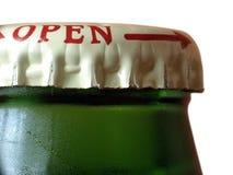 Macro della bottiglia da birra Fotografie Stock