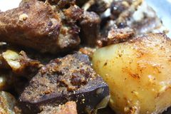 Macro della carne suina - fegato e grasso Fotografia Stock Libera da Diritti