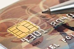 Macro della carta di credito e della penna Fotografia Stock