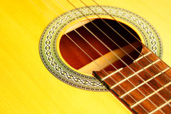 Macro della chitarra acustica fotografia stock libera da diritti