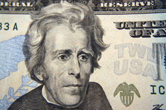Macro della fattura del dollaro venti Fotografie Stock Libere da Diritti