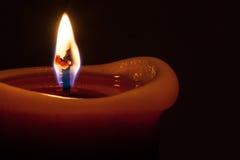 Macro della fiamma di candela Fotografia Stock Libera da Diritti
