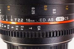 Macro della lente del cinema Fotografia Stock