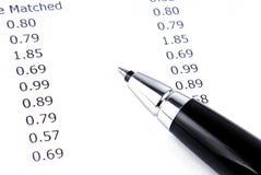 Macro della penna e della ricevuta Immagine Stock