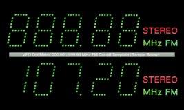 Macro della visualizzazione della radio della matrice a punti di VFD FM nel verde Fotografia Stock Libera da Diritti