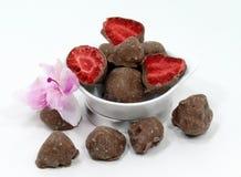 Macro des fraises de chocolat images libres de droits