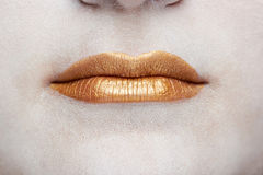 Macro des lèvres d'or images stock