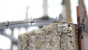 Macro detail of a barbwire stock footage