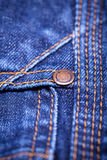 Macro Detail of blue jeans fabric Stock Images