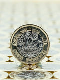 Macro detail of British one pound coin, tails side. Royalty Free Stock Photos