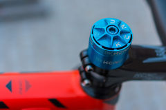 Macro detail of a colored bike headset Royalty Free Stock Image