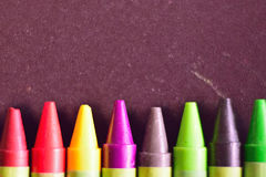 Macro detail of colorful wax crayon colors Royalty Free Stock Images