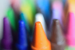 Macro detail of colorful wax crayon colors Stock Photos