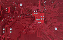 Macro detail computer motherboard hardware in red Stock Photography