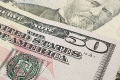 Macro detail of a 50 dollar bill. In natural light Royalty Free Stock Images