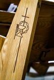 Macro detail ofa Church Bench Stock Image