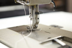 Macro detail of professional sewing machine Stock Photo