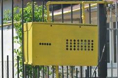 Metal box of gas meter. Macro detail of protective metal box of gas meter royalty free stock photos