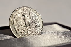 Macro detail of a silver coin of One American Dollar (USD, United States of America Dollar) Royalty Free Stock Photo