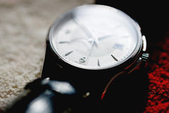 Macro detail of swiss made male luxury watch Royalty Free Stock Photo