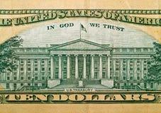 Macro detail of the US $10 Bill Stock Photo