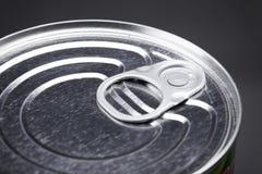Macro Detail van een bovenkant van het tinblik met ringstrekkracht Stock Foto's