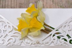 Wedding invitation with flowers. Macro detail of wedding invitation with daffodils flower Royalty Free Stock Images