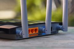 Router. Macro detail of wireless router with antenna royalty free stock image