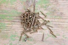Wood screw. Macro detail of a wood screw pile Stock Images