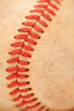 Macro Detail of Worn Baseball Stock Image