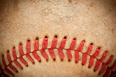 Macro Detail of Worn Baseball Stock Photography