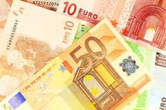 Macro details of 50 Euro. European currency money. Macro details of 50 Euro note over others as background Stock Photography