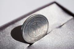 Macro dettaglio di una moneta d'argento di un Yen & x28; Yen giapponesi JPY& x29; Immagini Stock Libere da Diritti