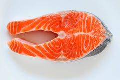 Macro di color salmone della fetta di pesce immagine stock libera da diritti