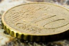 Macro di una moneta da 10 centesimi Fotografia Stock Libera da Diritti
