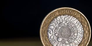 Macro Dichte Omhooggaand van een Brits Twee Pondmuntstuk Royalty-vrije Stock Afbeeldingen
