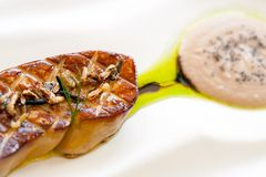Macro dichte omhooggaand van foiegras. Royalty-vrije Stock Afbeeldingen