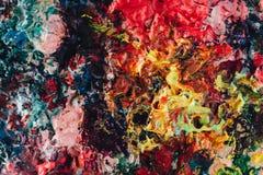 Macro dichte omhooggaand van verschillende kleurenolieverf kleurrijke acryl Modern kunstconcept stock fotografie